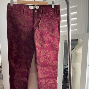 Abercrombie & Fitch Floral Burgundy Skinny Jean 10